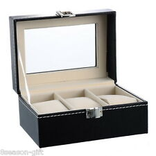 3Black Leather Watch Case Glass Top Display Storage Gift Jewelry Collector Box