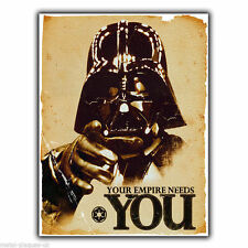 DARTH VADER YOUR EMPIRE NEEDS YOU - Vintage Retro METAL WALL SIGN PLAQUE poster