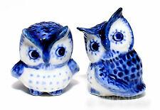 Figurine Animal Miniature Ceramic Statue 2 Blue Owl Bird - KB1-006