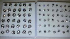 JOBLOT 42 pares 3mm & 6mm Hipoalergénico Diamante Aretes-nuevos al por mayor