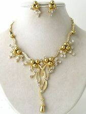Gold Tone Pearl Austrian Crystal Flower Cascade Necklace Earring Set Bridal