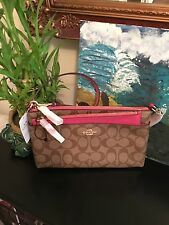 BRAND NEW!! Coach Signature Pop-Out Pouch Large Wristlet Khaki/Dahlia F65806