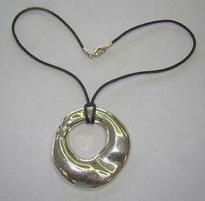 "Black String 16"" Necklace w/ Sterling Art Pendant, 24.68 Grams, # P520"