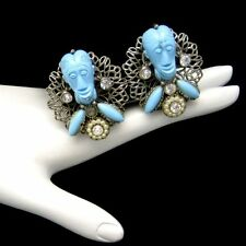Signed SELRO Vintage Clip Earrings Rare Blue Devil Genie Faces Silver Plated