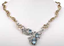 """Carolyn Pollack Blue Topaz gemstone Sterling Silver and Brass Necklace 19""""L"""