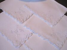 LOT/SET 6 Vintage WHITE FINE IRISH LINEN Napkin-EMBROIDERY CUTWORK-12x12-SCALLOP
