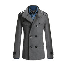 Fashion Coat Double Breasted Peacoat Long Men Jacket Winter Dress Top M-2XL