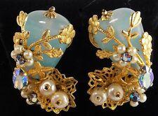 Original by Robert Clip Earrings Light Green Stone Filigree Work Blue Crystal