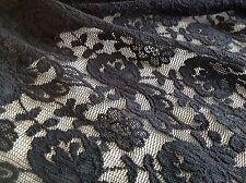 "NEW Designer Jet Black Stretch Floral Lace Fabric 57""146cm High Class Lace Cloth"
