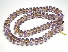 "16"" Strand AMETRINE Amethyst Citrine 10mm Faceted Rondelle Beads AAA NATURAL"