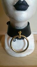 Black Leather & Gold Ring Choker Goth Rocker Collar