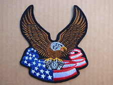 ECUSSON PATCH THERMOCOLLANT AIGLE BANNIERE USA V TWIN biker trike / 10.4 x 9.6cm