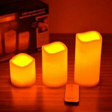 3 Flameless Remote LED Candles Romantic Wedding Scented Wax With Remote Control
