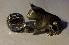 """Pewter Cat Figurine Tiny 1-7/8"""" Long x 1"""" Tall signed CUTER PEWTER"""