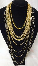 Vintage Haute Couture Runway Fashion Lot Of 5 Gold  Tone Necklace Chains