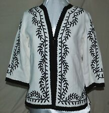 LINEA BY LOUIS DELL'OLIO STUNNING EMBROIDERED JACKET RIBBON TRIM 100% LINEN S