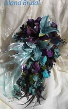 Silk Flower Wedding Bridal Bouquet Set 4 pc Lilies Navy/Purple/Turquoise