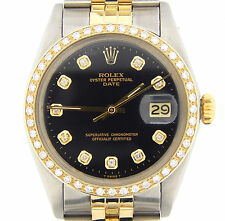 Mens Rolex Date 2Tone 14K Yellow Gold & Steel Watch Black Diamond Dial 1ct Bezel
