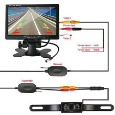 "7"" TFT LCD Car Rear View Monitor+Wireless Parking Night Vision Backup Camera Kit"