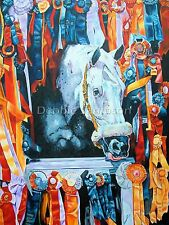 "Snowman show Jumper pony horse racing print art  matted 16"" X 20"""