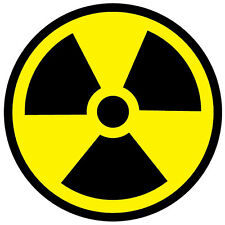2 x RADIOACTIVE SYMBOL RADIATION WARNING SELF ADHESIVE VINYL STICKERS SAFETY