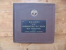 "BOOK SET 5 12"" 78s COLUMBIA LX 833-837 Brahms ""Symphony No. 1 Op.68"" Weingartner"