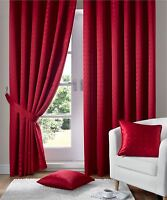 JACQUARD CHECK RED LINED PENCIL PLEAT CURTAINS DRAPES *9 SIZES*