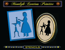 Primitive Stencil~Vintage Style~COLONIAL GIRL & HER DOLL~Colonial Silhouette