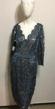 Tadashi Shoji 3/4-Sleeve  Embroidered Lace Belted Dress  In Steal Blue 10 NWT