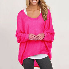 Damen Asymmetrisch Pullover Sweatshirt Tunika Jumper Tops Lose Sweat Hemd Bluse