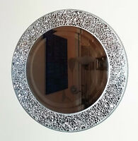 Round silver cracked mosaic wall mirror 40cm hand made-NEW