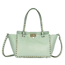 Valentino Rockstud Small Double Handle Leather Tote Bag - Mint Green