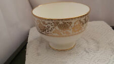 FOOTED WEDGWOOD CHINA SUGAR BOWL IN GOLD DAMASK PATTERN  GOLD FLORAL BAND