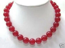 """Natural 12mm Red Ruby Beads Gemstone Necklace 18"""" AAA"""