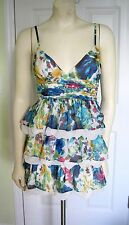 NEW MINUET MODCLOTH SIZE SMALL TIERED FLORAL DRESS V-NECK WATERCOLOR RUFFLE SILK