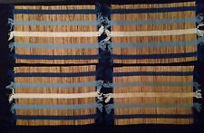 4 bamboo bannana reed straw placemats blue stripe Windham Weavers Trading
