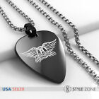 New Stainless Steel Aerosmith Band Guitar Pick Pendant w Round Box Necklace 14E