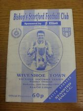 26/12/1990 Bishops Stortford v Wivenhoe Town  (Creased). Condition: We aspire to