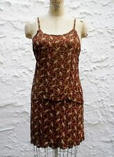 Brown Floral Paisley Set Top Skirt Camisole Tank Boho Chic Indian Hippie Outfit