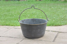 old antique brass cooking pot metal pan jam kettle cauldron - FREE POSTAGE