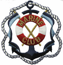 """2-7/8"""" Anchor,Life Ring,Rope w/MARINE CLUB Embroidery Iron On Applique Patch"""