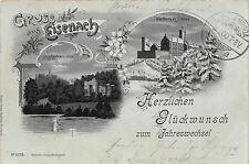 Eisenach clair de lune carte postale wartburg dans la neige Fritz reuthers villa winterlitho