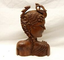 Vtg Hand Carved Wood Balinese Female Bust Statue Profile Woman Solid Bali Figure