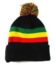 JAMAICAN FLAG RASTA PRINT CUFFED BEANIE POM POM KNIT SKULL CAP HAT SKI BLACK NEW