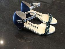 Juicy couture neuf & authentique filles bleu cuir sandales uk 12, eu 31 avec logo