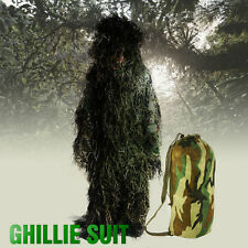 New M/L Ghillie Suit Camo Hunting Woodland Tactical Forest 3D 4-Piece + Bag