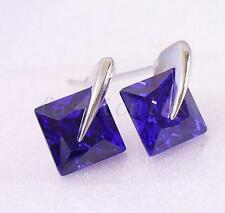 Men New White Gold Plated Purple 7mm CZ Cubic Zirconia Crystal Studs Earrings