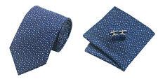 Blue White Novelty 100% Silk Classic Mens Necktie Tie Hanky Cufflink Set NT246