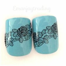 Nail Art Water Decals/Stickers/Transfers/Wraps Black Lace Flowers Leaves  #18