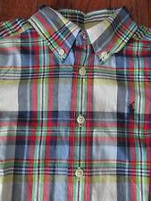 New Ralph Lauren Boys Size 4/4T Madras Plaid Long Sleeve Sport Shirt